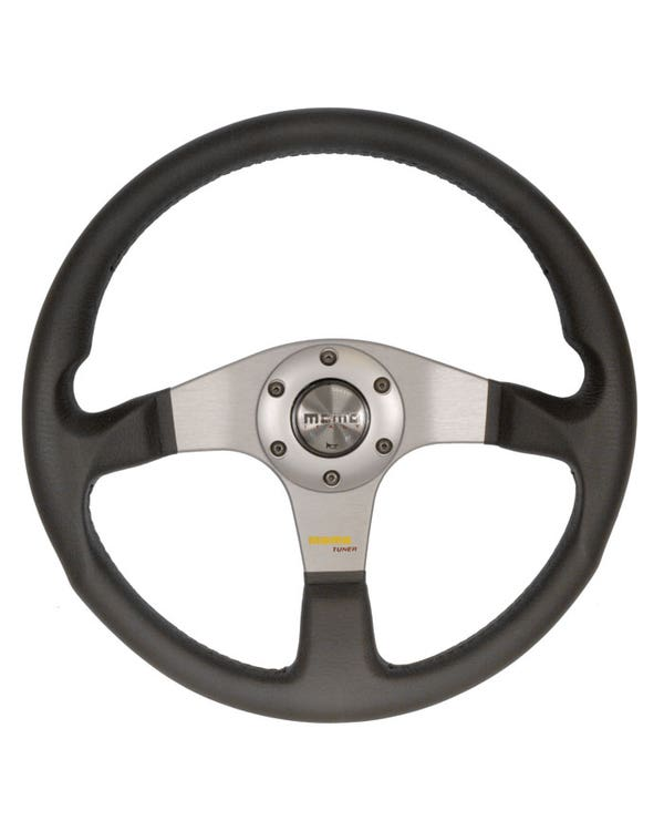 Momo Tuner Steering Wheel, Black Leather with Anthracite Centre 350mm