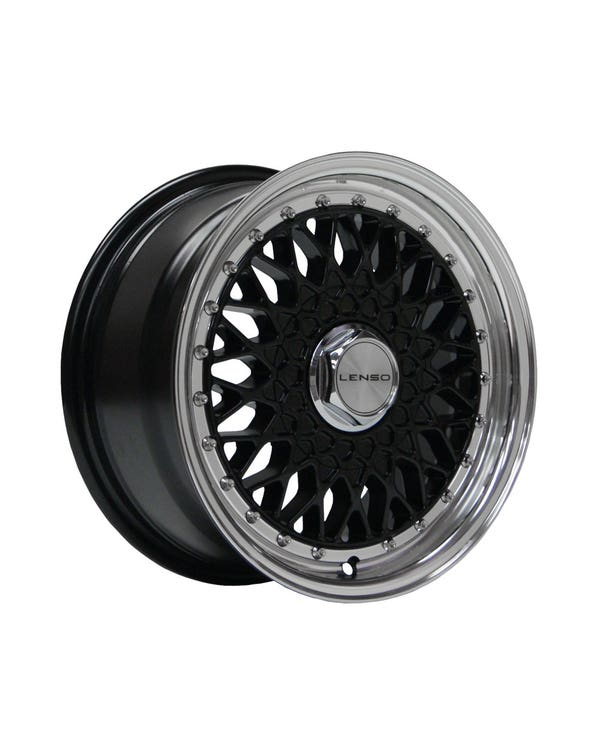 """Lenso BSX Alloy Wheel Black Polished, 7x15"""", 4/100 PCD, ET20"""