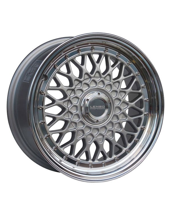 """Lenso BSX Alloy Wheel Silver Polished, 7x15"""", 4/100 PCD, ET20"""