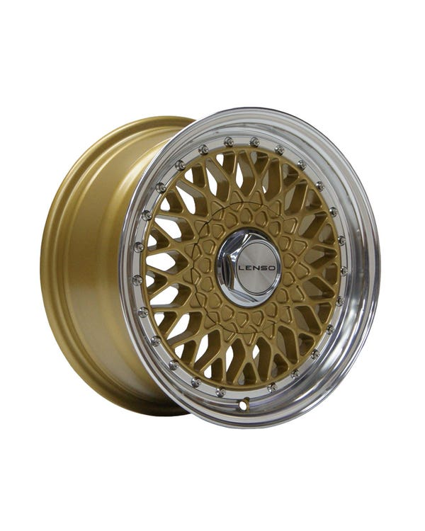 """Lenso BSX Alloy Wheel Gold Polished, 7x15"""", 4/100 PCD, ET38"""