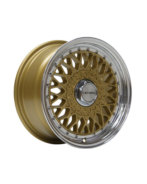 "Lenso BSX Alloy Wheel Gold Polished, 7x15"", 4/100 PCD, ET38"