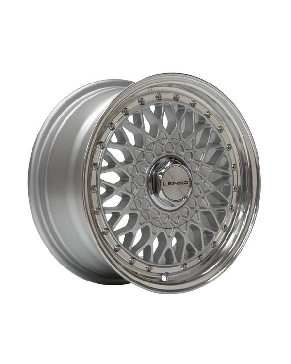 """Lenso BSX Alloy Wheel Silver Polished, 7x15"""", 4/100 PCD, ET38"""