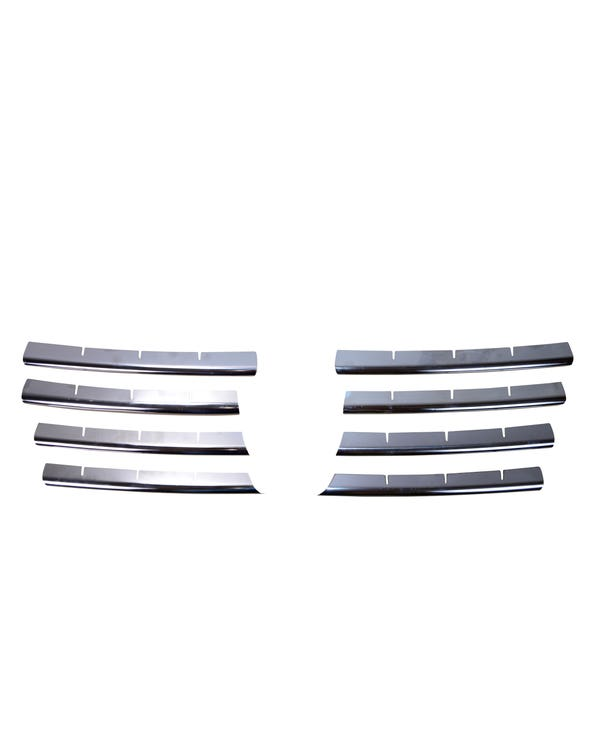 Kit de embellecedor de acero inoxidable cromado para parrilla delantera, 8 piezas