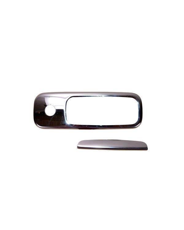 Juego de cubierta de manilla de portón trasero de acero inoxidable con acabado de espejo cromado