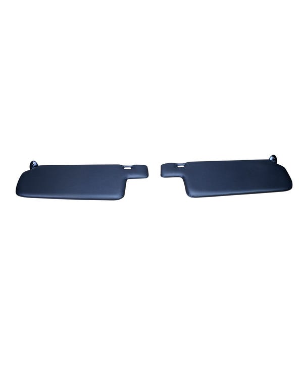 Sun Visor Set Black with Left Vanity Mirror for Cabriolet