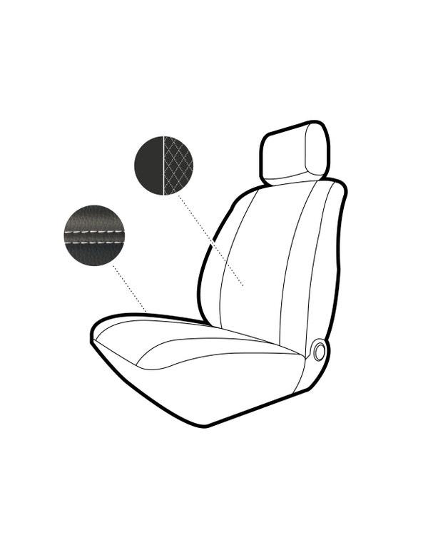 Vordersitzbezug, Einzelsitz, schwarzes Rautenmuster mit weißen Nähten