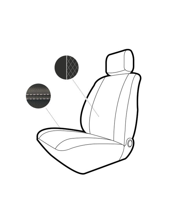 Single Front Seat Covers Black Sides Black Diamond Centre with White Stitching