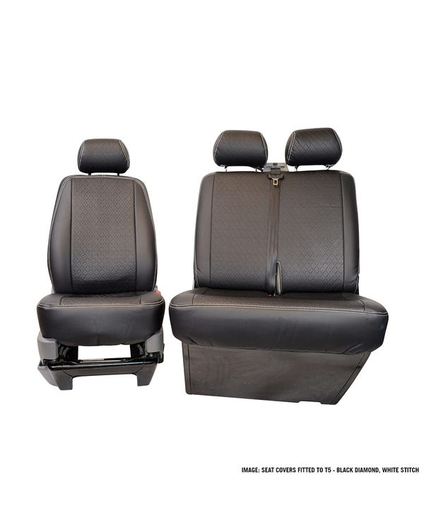 Front Seat Covers Single and Bench Black Diamond Pattern with White Stitching