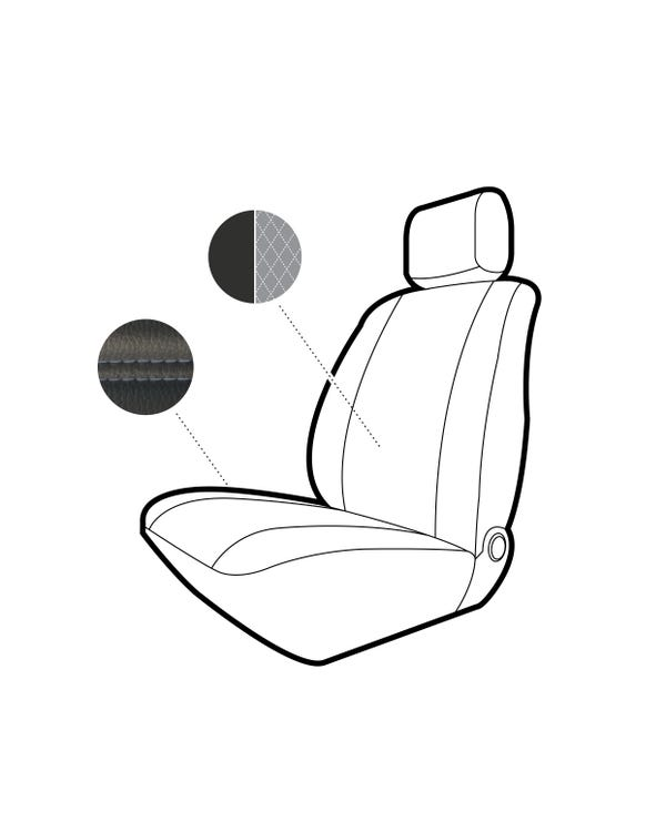 Single Front Seat Covers Black Sides with Grey Diamond Centre and Stitching