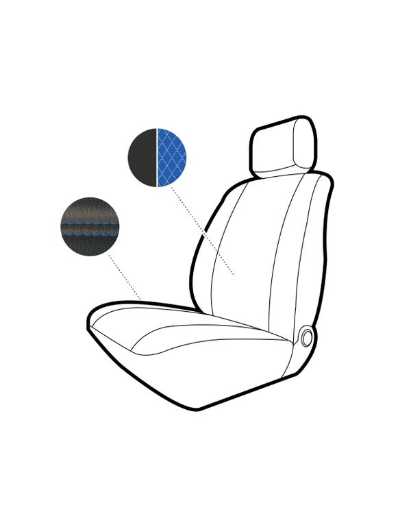 Single Front Seat Covers Black Sides with Blue Diamond Centre and Stitching