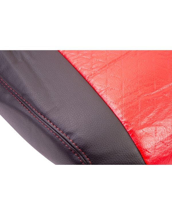 Front Seat Covers Single Seats Black Sides Red Diamond Pattern with Red Stitching