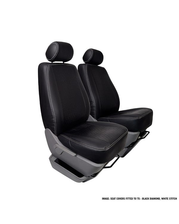 Single Front Seat Covers Black Sides Blue Centre and Stitching