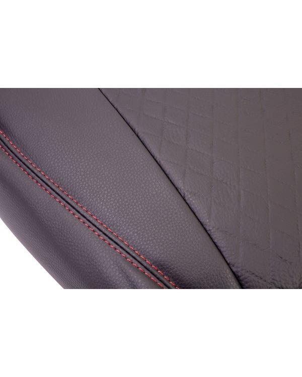 Vordersitzbezug, Einzelsitz, schwarzes Rautenmuster mit schwarzen Seiten und roten Nähten