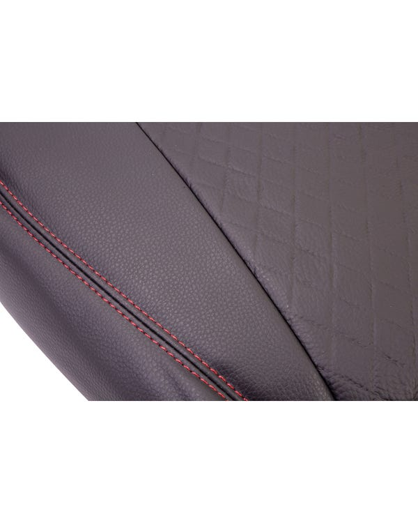 Single Front Seat Covers Black Sides Black Diamond Centre with Red Stitching