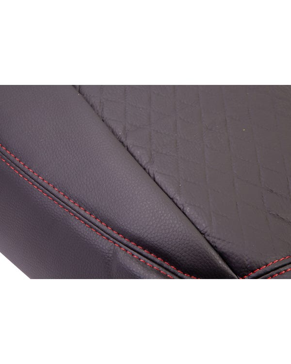 Bench Front Seat Covers Black Sides Black Diamond Pattern with Red Stitching