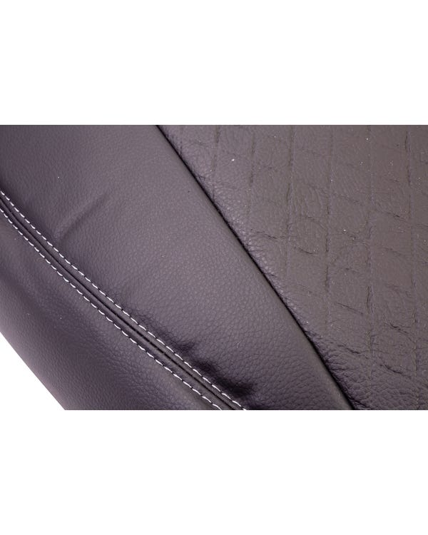 Bench Front Seat Covers Black Sides Black Diamond Centre with Grey Stitching