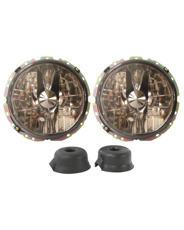 Headlights Crystal Clear Smoked for Right Hand Drive Pair