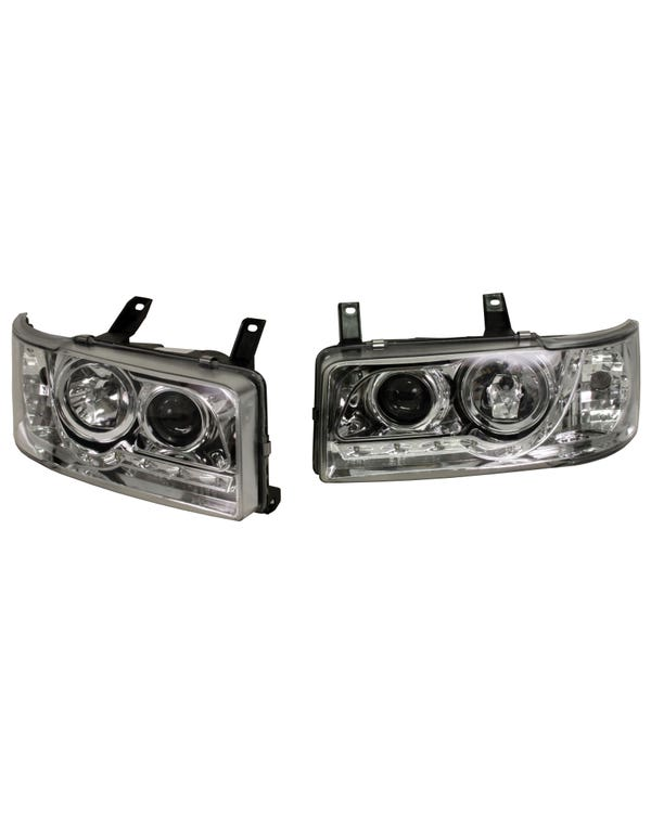 Headlights with Chrome Inner and LED Running Lights for Short Nose Pair for Right Hand Drive