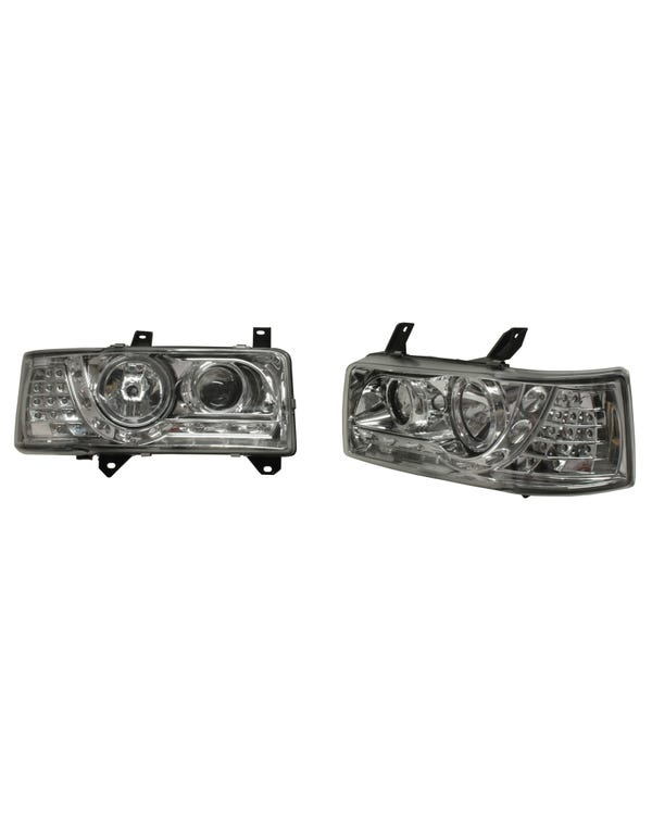 Headlights with Chrome Inner and LED Indicators for Short Nose Pair for Right Hand Drive