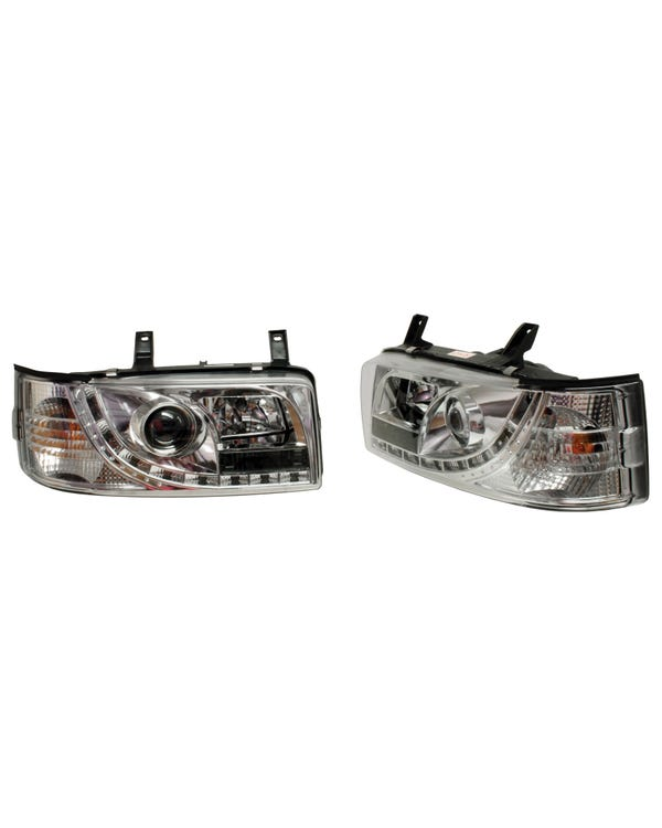 Chrome Devil Eye Headlights with LED Sidelights to fit Right Hand Drive Short Nose