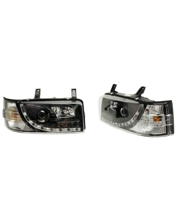 Black Devil Eye Headlights with LED Sidelights to fit Right Hand Drive Short Nose