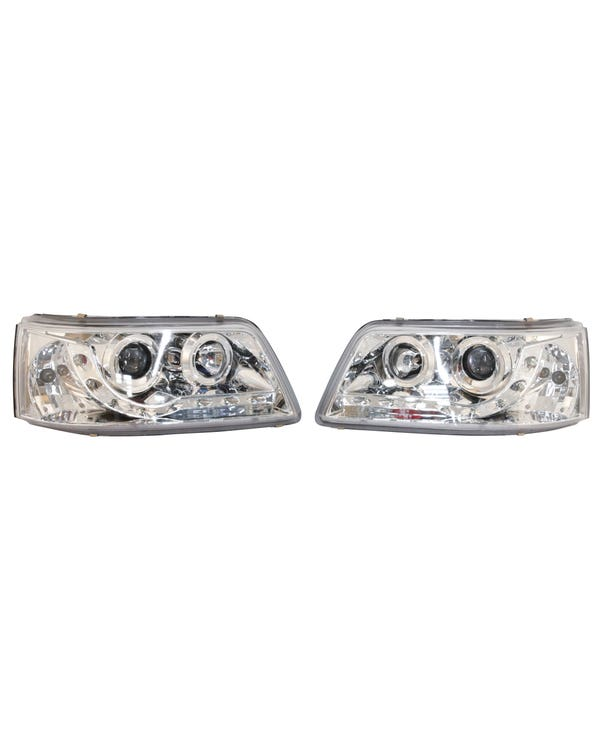 Headlights with Chrome Inner and LED Running Lights Pair for Right Hand Drive