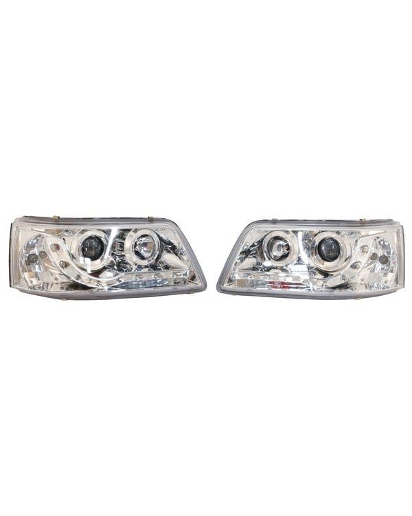 Scheinwerfer mit Chrom innen und LED-Tagfahrlicht, Paar, für Rechtslenker