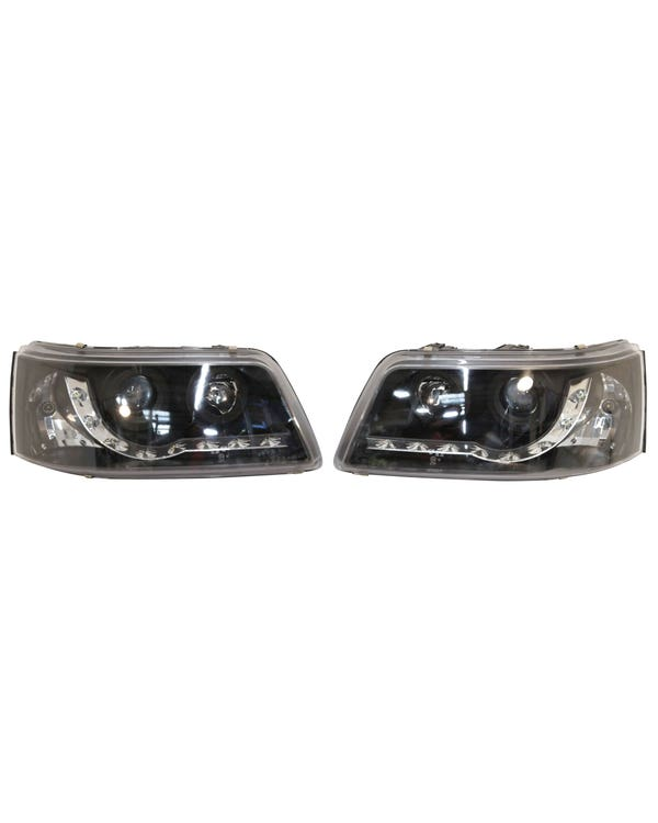 Headlights with Smoked Lens, Chrome Inner and LED Running Lights Pair for Right Hand Drive