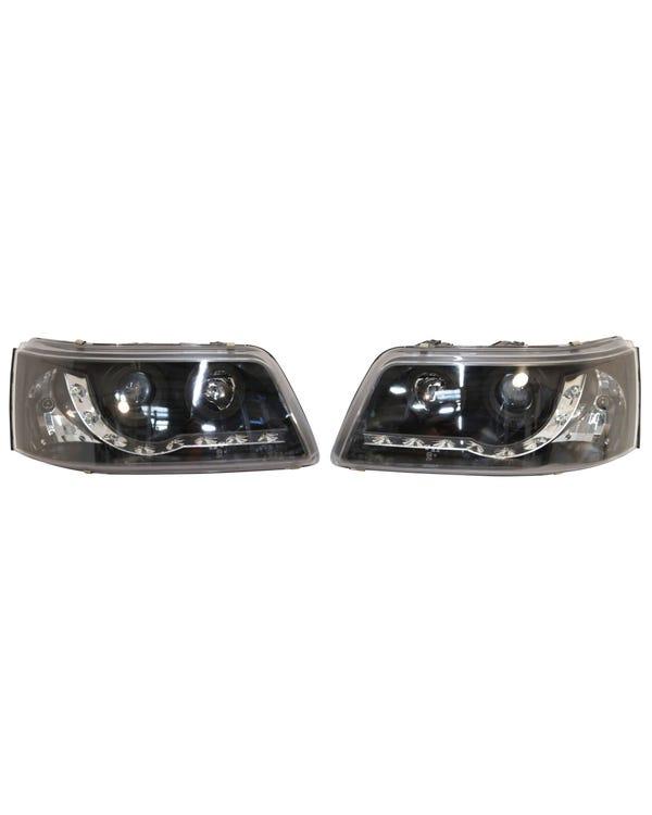 Scheinwerfer, diffuse Streuscheibe, Chrom innen und LED-Tagfahrlicht, Paar, für Rechtslenker
