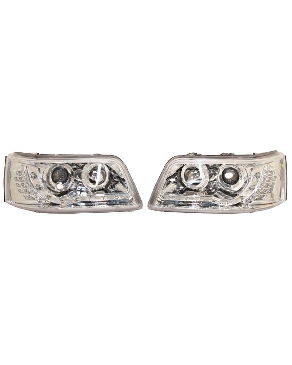 Headlights with Chrome Inner, LED Running Lights and Indicators Pair for Right Hand Drive