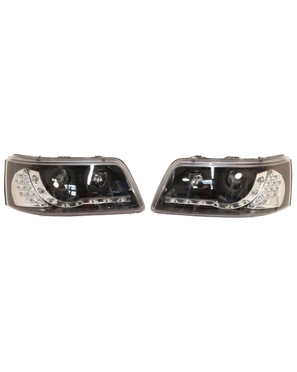 Headlights with Smoked Lens, Black Inner, LED Running Lights and Indicators Pair for Right Hand Drive