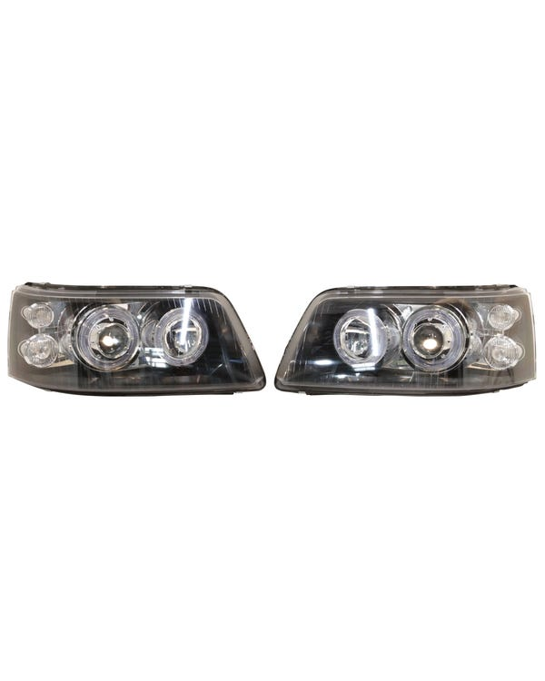 Headlights with Smoked Lens, Black Inner and Angel Eye Rings Pair for Right Hand Drive