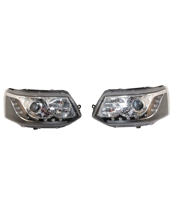Headlights with Chrome Inner and Black LED Running Lights and Pair for Right Hand Drive