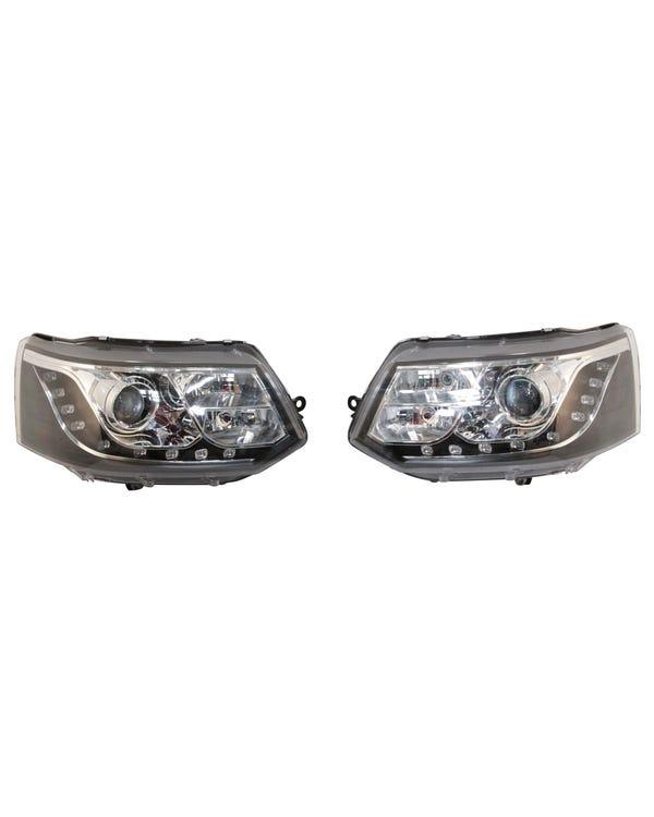 Scheinwerfer mit Chrom innen und schwarzem LED-Tagfahrlicht, Paar, für Rechtslenker