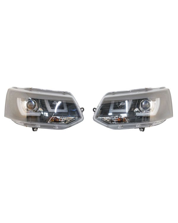 Headlights with Smoked Lens, Chrome Inner and Black LED Running Lights and Pair for Right Hand Drive