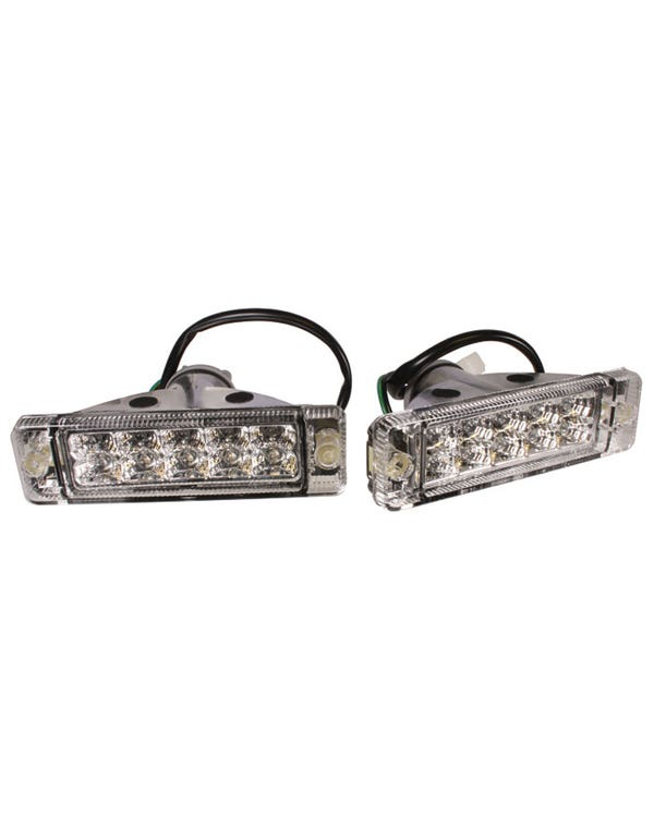 Front Indicator Assembly with Crystal Clear LED Lens for Small Bumper Pair