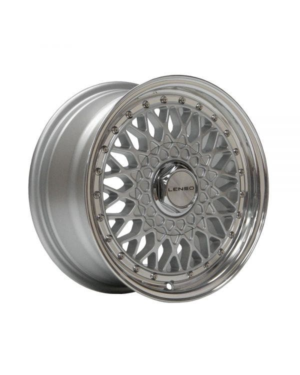 Lenso BSX Alloy Wheel 7Jx15'' ET38 4x100 Stud Pattern Silver Polished